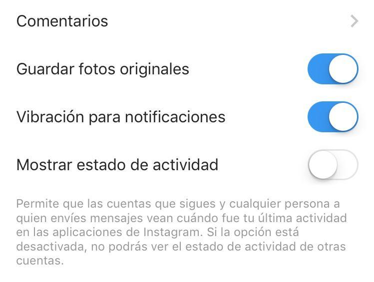 como quitar última hora de conexión de Instagram