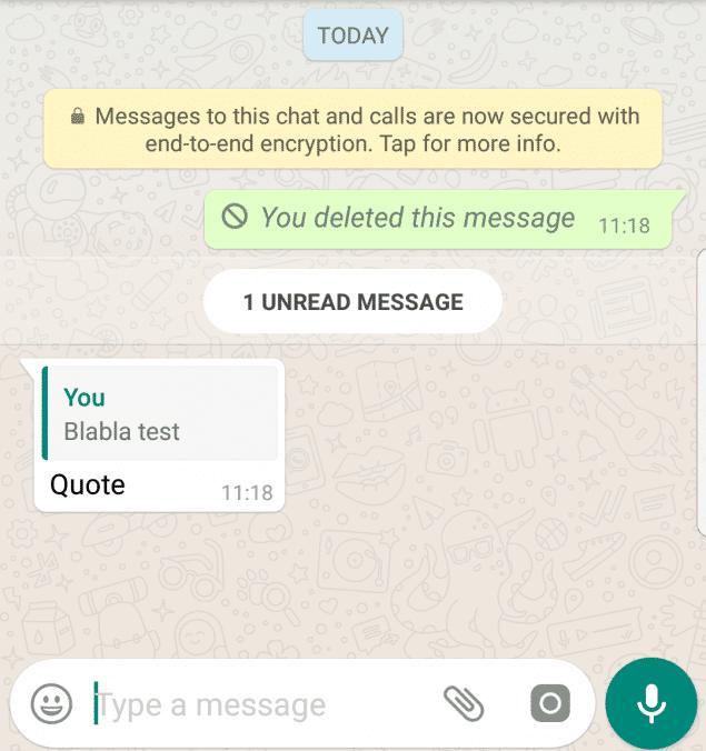 Los mensajes mencionados por otros usuarios en WhatsApp no se pueden borrar