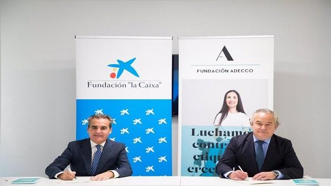 La Fundación Adecco y CaixaBank impulsarán el empleo de los más vulnerables
